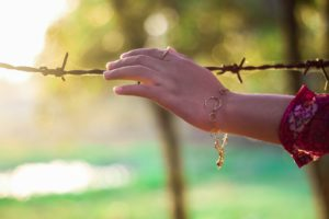 touching barb wire