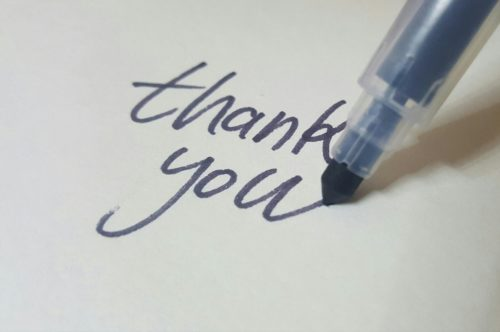 thank you written in calligraphy