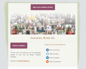 Religica e-newsletter screenshot