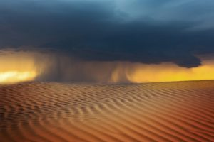 Weather storm in desert