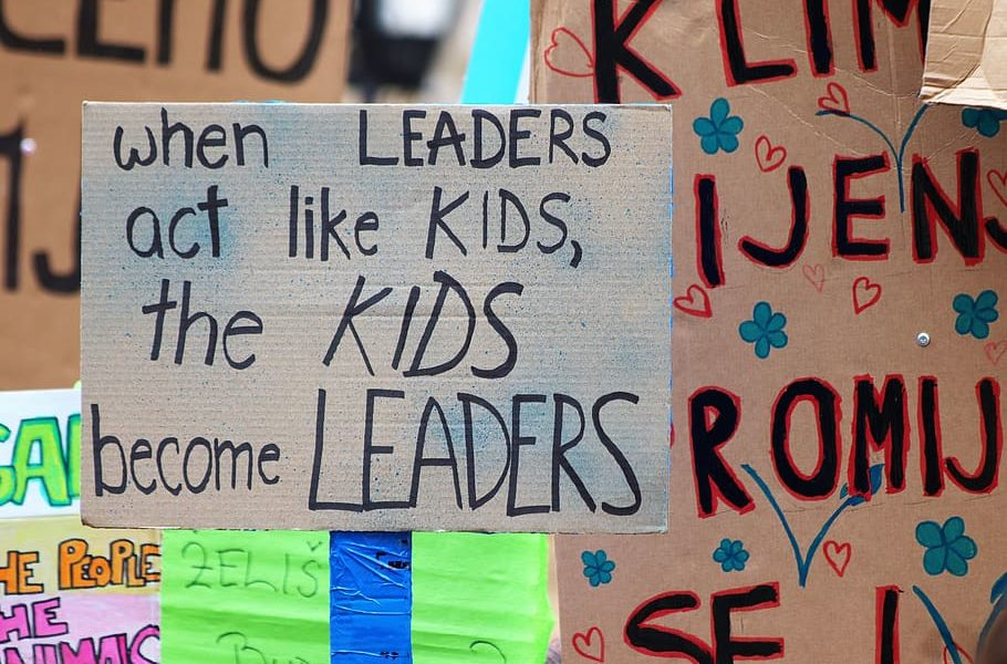 Signs for school strike for climate change